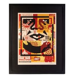 "Shepard Fairey Signed Offset Print ""Obey 3-Face Collage"": An open edition offset poster on cream Speckletone paper designed and signed in pencil by well-listed and world-renowned contemporary street artist, Shepard Fairey (South Carolina/California; born 1970), titled Obey 3-Face Collage. This piece is one component of a triptych, depicting a part of a face overlaid and surrounded by pop culture images in shades of black, red and yellow. The work is signed and dated 2017 in graphite to the lower right margin. It is presented with black matting and housed in a black wooden frame."