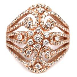EꟻFY 14K Rose Gold Diamond Swirl Ring: A 14K rose gold swirled diamond cocktail ring by EꟻFY.