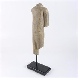 Abstract Figural Statue: An abstract figural statue. This piece depicts a human torso, with portions of arms and legs, while constructed of a synthetic material in a stone-like finish. The abstract form rises on a black dowel with a rectangular base.