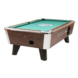 Valley Miller Lite Pool Table; A Valley Miller Lite pool table. The table features a wood grain laminate case, ball return and a green felt top embellished with a Miller Lite logo. The table is supported by four splayed legs. The table includes billiards accessories such as pool sticks, brushes and a rack.