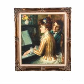"Jose Puyet Oil on Canvas ""La Lecion"": An original oil painting on canvas by listed Spanish artist Jose Puyet (1922-2004) titled La Lecion. This painterly image depicts a 19th century young woman receiving a piano lesson in the parlor of an elegant home , next to a dashing young instructor. The work is signed in the lower right of the canvas, and signed and titled in black ink on the verso. It is presented ready to hang in an ornate gold tone gesso and wood frame with a white linen liner. A certificate of authenticity is included."
