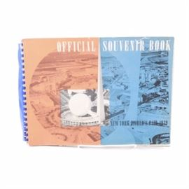 """1939 """"Official Souvenir Book New York World's Fair 1939"""": A spiralbound copy of Official Souvenir Book New York World's Fair 1939. The book was published in 1939 by Exposition Publications. It features photographs and texts detailing attractions at the 1939 World's Fair."""