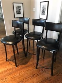 "Four 26"" high Black Leather Bar Stools...VERY COMFORTABLE!! $300 for all"