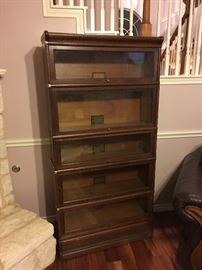 WAS $1450... NOW FINAL REDUCTION TO $900!  Full 5 stack (w/ base & lid): GLOBE WERNICKE Barrister/ Lawyers Glass-fronted Bookcases. ALL AUTHENTIC, Even lid & Base are real GLOBE WERNICKE! All doors work well, all glass is great too!