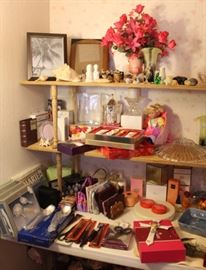 "Items on the bottom two shelves came from the ""gift closet"" - lots of nice, new things...."