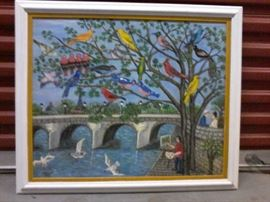 F. Gossin 1970 Birds Oil Painting  http://www.ctonlineauctions.com/detail.asp?id=665154