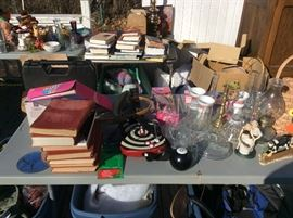 Books and glassware, $1 items