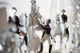 Wien, Vienna Augarten Capriole Spanish riding school, set of three fine porcelain pieces, uncommon.