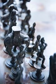 Marble top table chess set