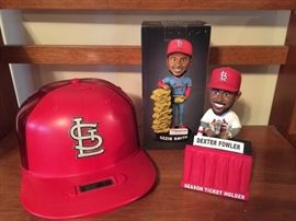 Cardinal Hat Bank and Bobbleheads