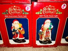 Old World Christmas 20th Anniversary Santa Light and Old World Christmas 2007 Nordic Santa Light