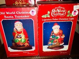 OldWorld Christmas Santa Toymaker and Old World Christmas Legendary Father Christmas Light