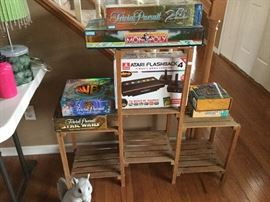 Board games and plant stand