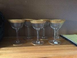 Gold trim antique wine glasses