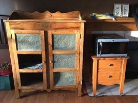 Oak pie safe / oak nightstand/ wine fridge