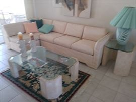 Sectional Couch & Glass Top Coffee Table and End Table
