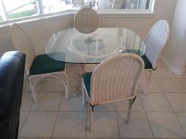 Wicker Table with Glass Top and 4 matching Chairs