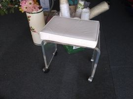 Lucite Stool with Padded Top