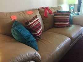 Very comfortable leather sofa & ottoman