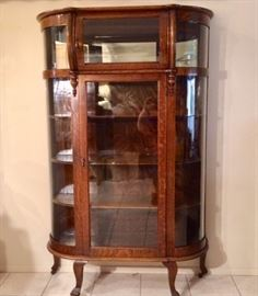 Antique Oak Display Cabinet w/ Curved Glass