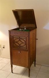 Antique Thomas Edison Phonograph in Oak Cabinet