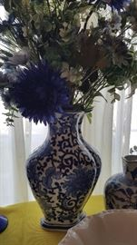 beautiful blue and white pottery, china, cobalt glass, silk flower arrangements and more