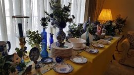 beautiful blue and white pottery, china, cobalt glass and more