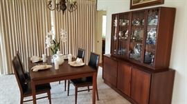 dillingham mid century modern dining table and china hutch