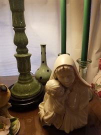 many religious figurines and items, Catholic, Virgin Mary, a few rosaries. hundreds of Catholic books