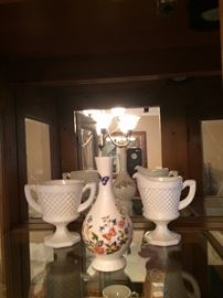 Vintage milk glass Quilted Diamond pattern sugar and creamer. Anysley porcelain bud vase.