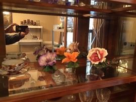 Vintage Capodimonte flower and newer flowers.