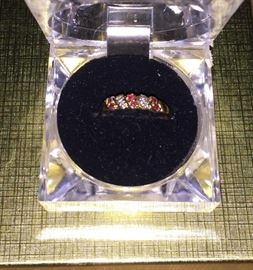 10K gold ring with diamonds and rubies