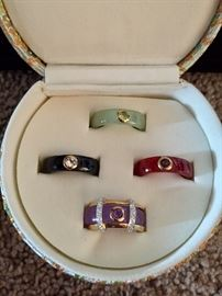 14K gold and diamond ring with interchangeable jade and precious stone bands