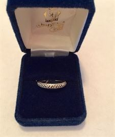 Imperial Gold 14K white gold band with embossed design