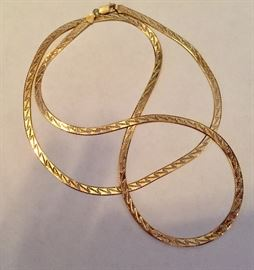 Extra long sterling silver and gold plated necklace with zig-zag pattern