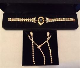 Gold AB crystal evening jewelry
