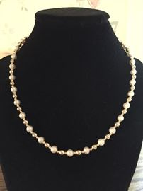 Pearl and 14K gold bead necklace