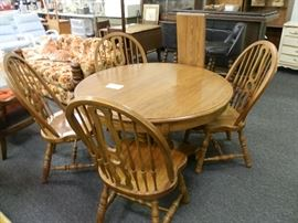 "This is one heavy set! All solid oak! The seats on the chairs are 2"" thick!"