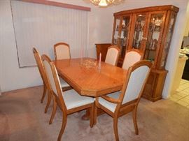 Dining Room Table/Six Chairs/One Leaf/Table Pads/China Closet/Table Pads