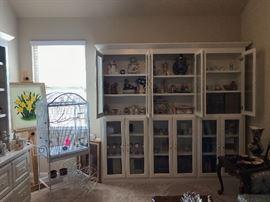 Bird cage and antique glassware