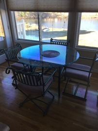 Wrought Iron and Glass Kitchen Table Set