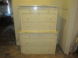 Two vintage medium sized chest of drawers, in shabby white