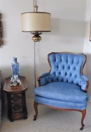 Wingback chair, petite side table