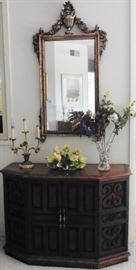 Console cabinet, wall mirror