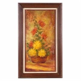 Oil Painting on Canvas Floral Still Life: An oil painting on canvas of a floral still life. The work depicts a grouping of red and yellow flowers in a basket against a neutral, blended ground. The work is unsigned. It is presented in a wooden frame with a linen liner under glass.
