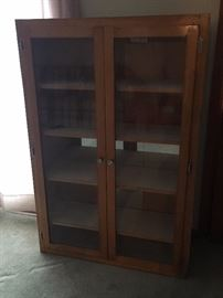 Wood Display Case with Glass Doors!