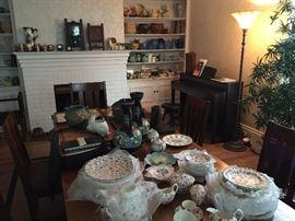 Copeland Spode Rosebud Chintz China. Gouda Pottery vases, Roseville, McCoy, Weller