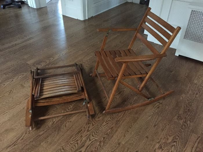 Vintage Folding Rockers By The Telescoping Folding Furniture Company,  Granville, NY.