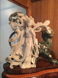 Spinach Jade Woman & Tiger sculpture