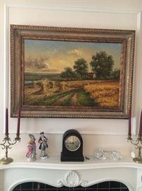 Oil painting, Seth Thomas mantle clock, Figurines